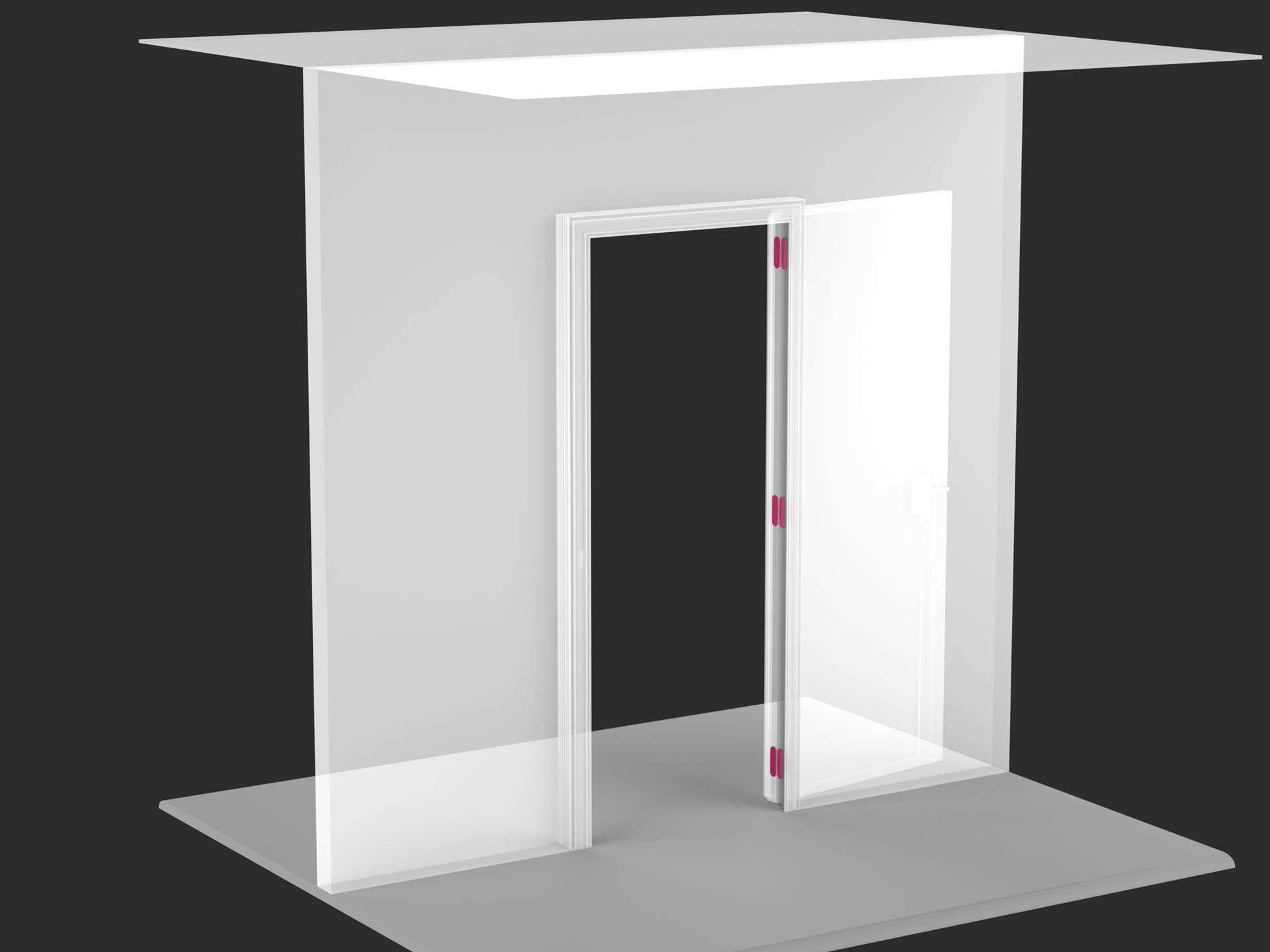 Flush wall swing door to push and to pull evoline