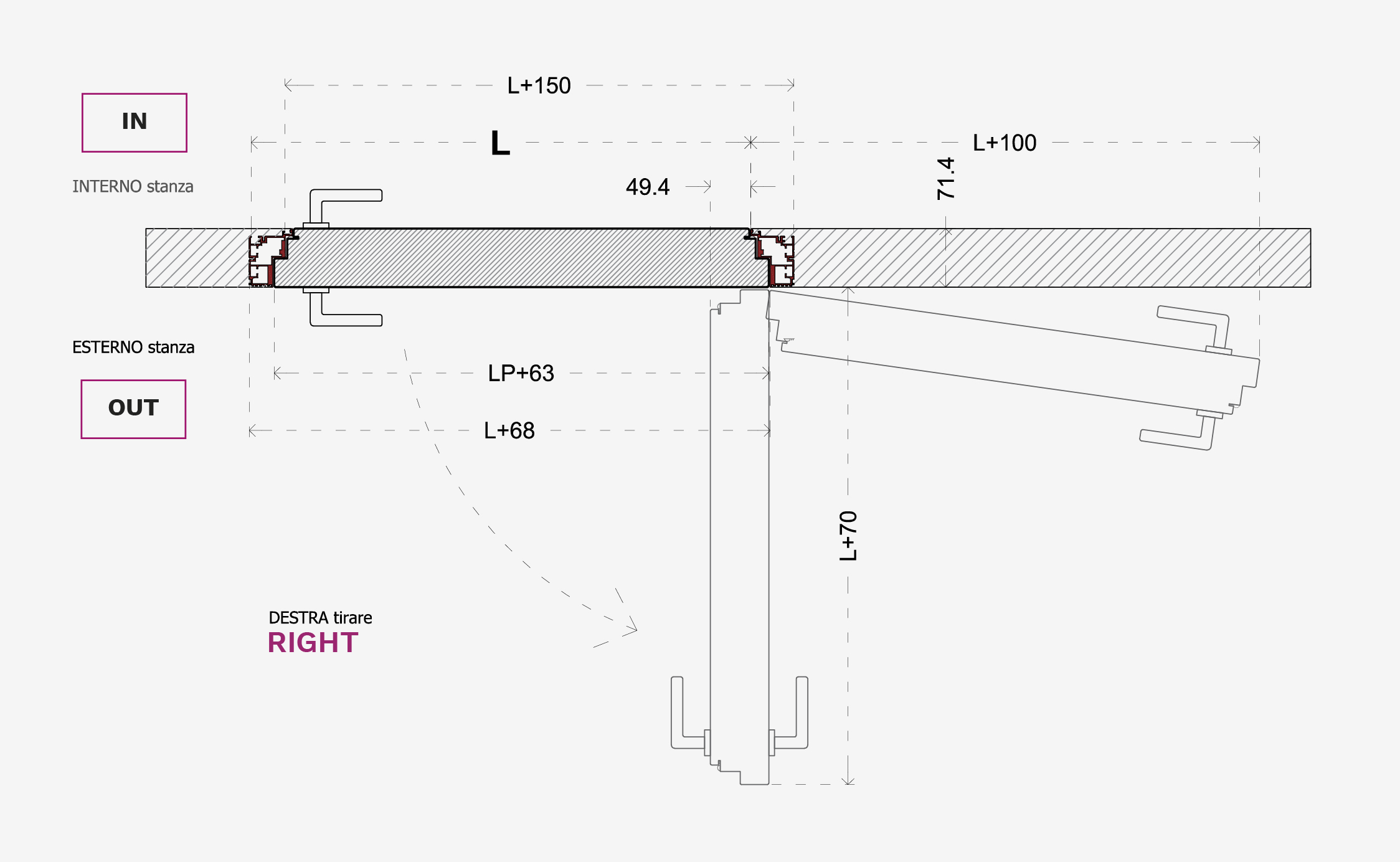 Montaggio Porta Filo Muro Cartongesso porta 102 filomuro spingere e tirare - evoline3